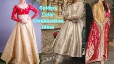 Golden Suit Color Combination | Golden Color Combination Ideas For Suits... Saree Gown, Lehenga Saree, Golden Lehenga, Party Wear Indian Dresses, Suit Combinations, Golden Color, Indian Wear, Color Combos, Gowns