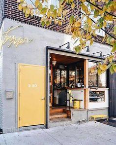 Discover ideas about shop facade Coffee Shop Design, Cafe Design, Store Design, Web Design, Design Ideas, Cafe Exterior, Exterior Design, Cafe Shop, Cafe Bar