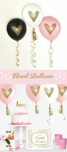 Pink and Gold Bridal Shower Decorations Pink and Gold Bachelorette Party Decor Gold Wedding Shower (EB3110HRT) - SET of 3 Balloons