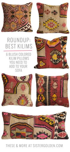 6 blush colored kilim pillows to throw on any colored couch!