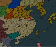A map of the frontline in November, 1938. Red arrows show massive Japanese troops movements and combined offensives (1937-1938), Red X's show the areas of the largest fighting to date. The black double-lines show massive Chinese troop locations and defensive positions. The furthest West battle is Zhenzhou, Xuzhou is in the middle, while Yangzhou is the furthest East.