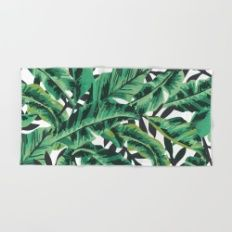 Tropical Glam Banana Leaf Print Hand & Bath Towel