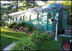 Home built from a refurbished train car. Whistle Stop Bed and Breakfast at New York Mills, Minnesota