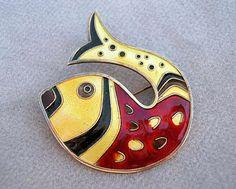 Colorful Fish Brooch | David-Andersten.  Enameled sterling silver. ca. 1950s.