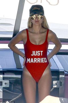 Hailey Baldwin wearing Linda Farrow Lfl 398 Sunglasses and Private Party Just Married One-Piece Swimsuit