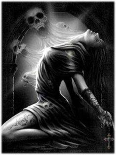 Evil Skull Tattoo, Skull Tattoos, Santa Muerte Prayer, Angel Sketch, Sad Paintings, Prayer For Love, Sad Angel, Money Spells That Work, Emo Love