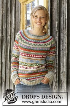 Winter Carnival / DROPS – Knitted sweater in DROPS Karisma. The work is knitted from top to bottom with round yoke, Norwegian pattern and A-cut. Knitted hat in DROPS Karisma. The work is knitted with Norwegian pattern and stripes. Fair Isle Knitting Patterns, Fair Isle Pattern, Knitting Charts, Knitting Stitches, Knit Patterns, Free Knitting, Drops Patterns, Beginner Knitting, Afghan Patterns
