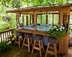 Hot Tub Gazebo, Hot Tub Garden, Hot Tub Backyard, Outdoor Hot Tubs, Backyard Gazebo, Tub Enclosures, Casas Containers, Backyard Patio Designs, Outside Living