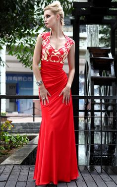 New Fashional Red Cocktail Prom Chiffon Halter Party Formal Long Evening Dress