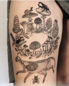 Decomposition: Fairy ring of mushrooms with cat skeleton and insect friends - shaggy mane, chanterelle, amanita, and more by Pony Reinhardt ( Shape Tattoo, 1 Tattoo, Body Art Tattoos, Sleeve Tattoos, Tattoo Quotes, Fairy Sleeve Tattoo, Faerie Tattoo, Circle Tattoos, Pretty Tattoos
