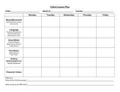 Blank Infant Lesson Plan Template cakepins.com