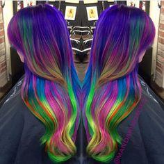 Dramatic neon rainbow hair by Amanda King mermaid hair unicorn hair vivid hair color hotonbeauty.com