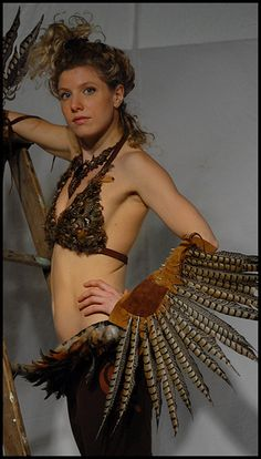 Pheasant Feather top and belt with wings. Tribal Bird Feather Costume…