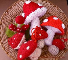 Crocheted, knitted and felted Mushrooms. by gingerbread_snowflakes, via Flickr