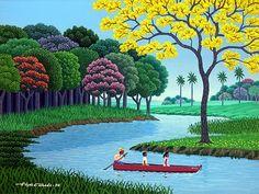 The Boat Ride by Edgar Calhado Landscape Wallpaper, Landscape Art, Landscape Paintings, Dancing Drawings, Art Village, Caribbean Art, Desenho Tattoo, Naive Art, Painting Lessons