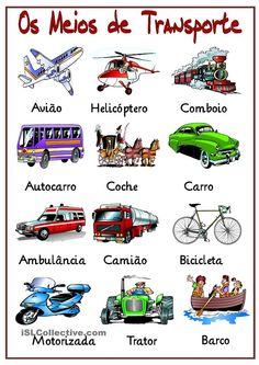 Portuguese vocabulaty - Os meios de transporte / Means of transport Portuguese Grammar, Learn To Speak Portuguese, Portuguese Words, Learn Brazilian Portuguese, Portuguese Lessons, Portuguese Language, Portuguese Culture, Spanish Lessons, Teaching Spanish