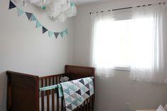 Modern Nursery - love the triangle quilt!