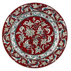 Bitkisel Desenli Çini Tabak Clay Plates, Ceramic Plates, Porcelain Ceramics, Ceramic Pottery, Decorative Plates, Turkish Plates, Turkish Tiles, Turkish Art, Plate Wall Decor