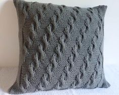 Cable Knit Pillow Case Dark Gray, Charcoal Throw Pillow, Cable Knit Pillow, Knitted Pillow Cover, 18X18 Knit Cushion Cover