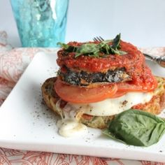 Open-faced Eggplant Caprese Sandwich. Try this on your next Meatless Monday!