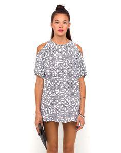 6bac4f1d8067f Motel Savannah Cold Shoulder Dress in Geo Maze