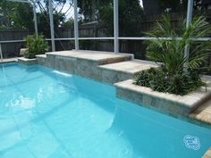 pool sheer descent made with tiles - Google Search