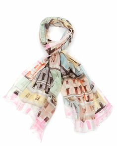 I want!! CHIEL - Regency houses print scarf - Nude Pink | Womens | Ted Baker