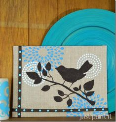 How to use stencils on a burlap canvas to create a simple, yet beautiful piece of art.