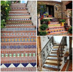 Staircase decorated with Talavera Tiles - Latin America and Mexico home decor interior design American Interior, American Decor, Modern Interior Design, Interior And Exterior, Latin Decor, World Travel Decor, Tiled Staircase, Stairs, Mexican Home Decor