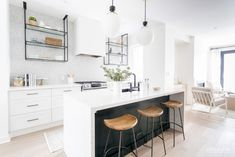 Toronto Residence Before and Afters Rustic Kitchen Cabinets, Kitchen Layout, Kitchen Dining, Home Decor Kitchen, Kitchen Interior, Kitchen Ideas, Modern Farmhouse Kitchens, Home Kitchens, Interior Desing