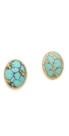 Cabochon Stud Earrings