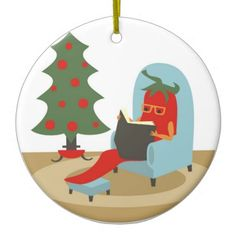 Chile pepper reading book Christmas ornament #hotpepperseeds #hotpeppers #seeds #hotpepper #peppers