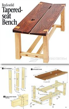 Tapered Seat Bench Plans - Outdoor Furniture Plans & Projects | http://WoodArchivist.com