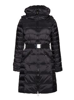 Benetton Classic Belted Puffer Coat in Black - -Long down jacket with real down padding, internal lining, detachable hood, two zipped pockets on the sides, front zip and adjustable matching belt with silver buckle. -Black. -Matt finish.