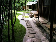 Japanese house and garden / steps Japanese Garden Backyard, Japan Garden, Japanese Garden Design, Ponds Backyard, Garden Landscape Design, Japanese Gardens, Traditional Japanese House, Japanese Architecture, Parcs