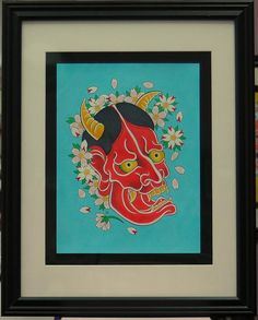 Red Hannya with blossoms by BlueBirdFolkArt on Etsy