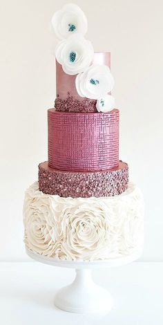 Wedding cake with ruffles, and sparkle