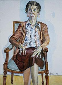Alice Neel (American, Merion Square, Penn. 1900 - 1984 New York) Portrait of Ellen Johnson, 1976. Signed and dated lower right in blue: Neel 76. This is in the Allen Art Museum at Oberlin College.