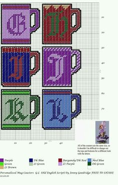 Personalized Mug Coasters G-L Plastic Canvas Letters, Plastic Canvas Coasters, Plastic Canvas Ornaments, Plastic Canvas Crafts, Canvas Designs, Canvas Patterns, Old English Letters, Cross Stitch Letters, Diy Canvas