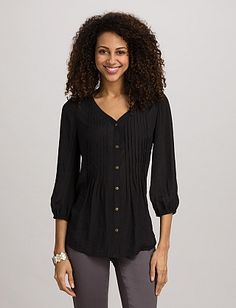 Textured Pintucked Button-Down Blouse