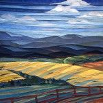 Fiber Art Landscape Picture - Clouds Over Fields and Fence | Libbesmeyer Art