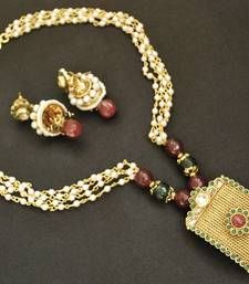 Unique Maroon & Green Pendant set with Traditional Jhumki & Pearl Mala shop online.