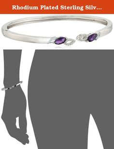 "Rhodium Plated Sterling Silver Marquise African Amethyst 8x4mm, Marquise Sky Blue Topaz 5x2.5mm and Round White Topaz Bangle Cuff Bracelet, 7.25"". Imported."