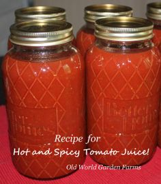 Hot and Spicy Tomato Juice - Canning Recipe  ~ YUMMY!!! ~  http://oldworldgardenfarms.com/2012/08/24/wow-i-could-have-made-my-own-v-8-can-your-own-hot-and-spicy-tomato-juice/