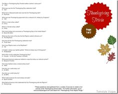 Thanksgiving trivia printable page one