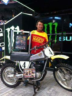 Vintage Maico Dirt Bike - Steve Stackable honored at Houston Supercross