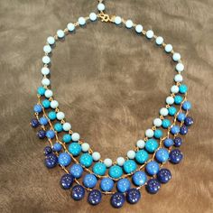 J Crew statement necklace Ombre blue with gold J. Crew Jewelry Necklaces