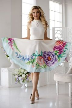 """Skirt """"Nature"""" - buy or order in an online shop on Livemaster Fabric Painting On Clothes, Dress Painting, T Shirt Painting, Painted Clothes, Silk Painting, Fabric Paint Shirt, Saree Painting Designs, Fabric Paint Designs, Hand Painted Sarees"""