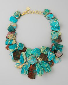 Clustered Turquoise Jasper Necklace by Nest at Neiman Marcus. Clustered Turquoise Jasper Necklace by Nest at Neiman Marcus. Collier Turquoise, Turquoise Jewelry, Turquoise Bracelet, Jewelery, Jewelry Necklaces, Beaded Necklace, Gucci Jewelry, Chunky Necklaces, Chunky Jewelry