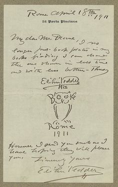 [Manuscript letter from artist, Elihu Vedder to Ruthven Deane, with original bookplate drawing]. Vedder, Elihu,, 1836-1923,, correspondent. 1911 April 18th. 1 item (letter) ; sheet 18.1 x 10.3 cm. Ruthven Deane Bookplate Collection, Library of Congress, Prints and Photographs Division.
